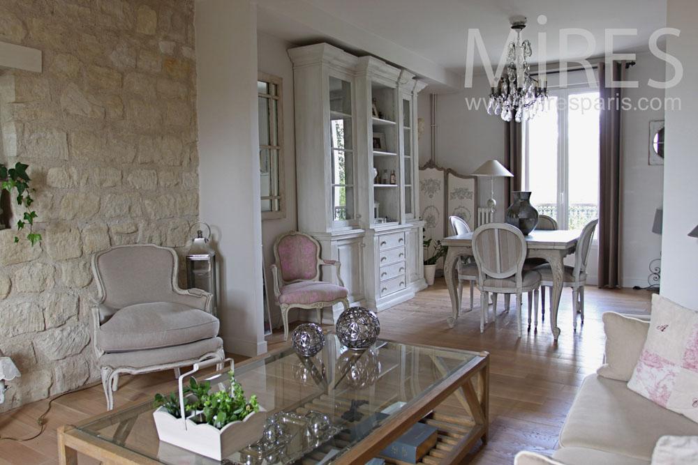 Salon mur en pierre apparent C0763  Mires Paris