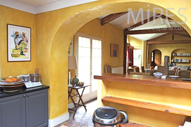 Cuisine ocre gris et inox C1019  Mires Paris