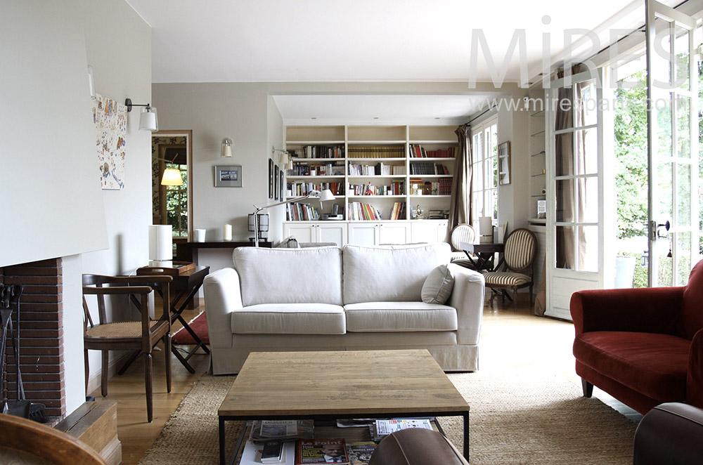 Double salon avec chemine C1488  Mires Paris