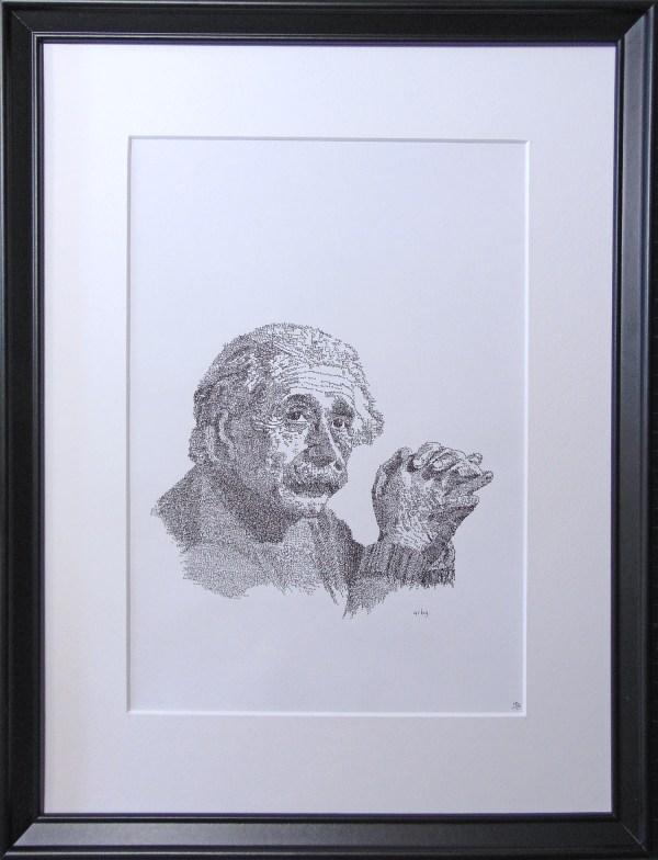 Einstein, formula, calligram, framed, paper, white, black, ink, portrait