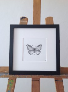Butterfly, framed, passepartout, black, white, easel