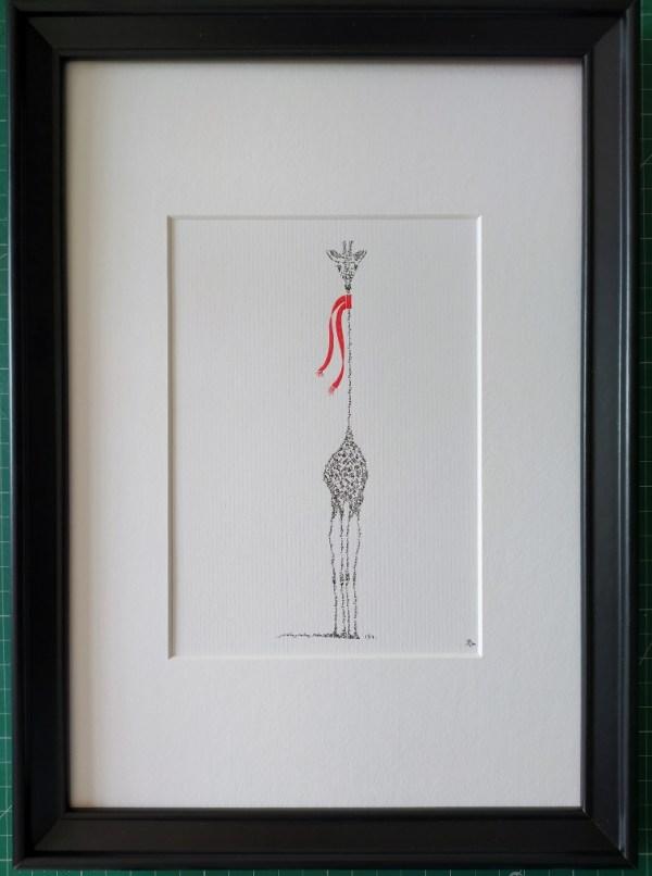 Framed calligram giraffe