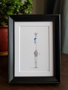 scene with framed calligram giraffe