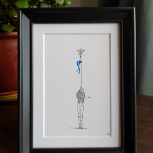 scene with framed calligram giraffe