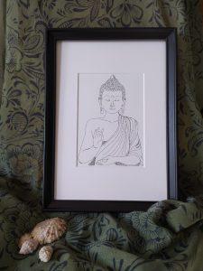 Total view calligram Buddha, portrait, framed
