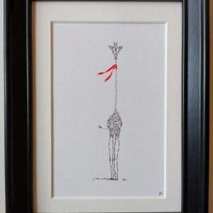 Framed calligram, small giraffe with red scarf
