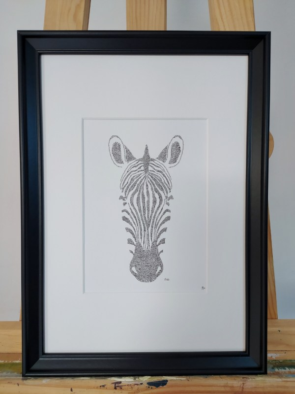 Framed #Zebra #calligram portrait