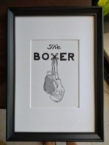 framed boxing gloves calligram