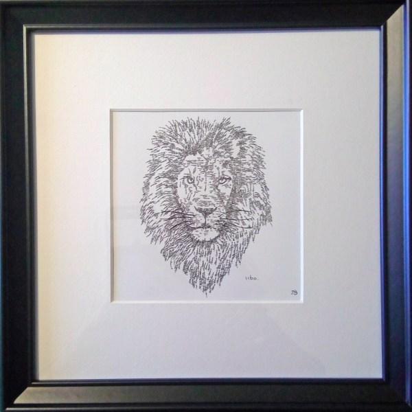 Framed Calligram Lion
