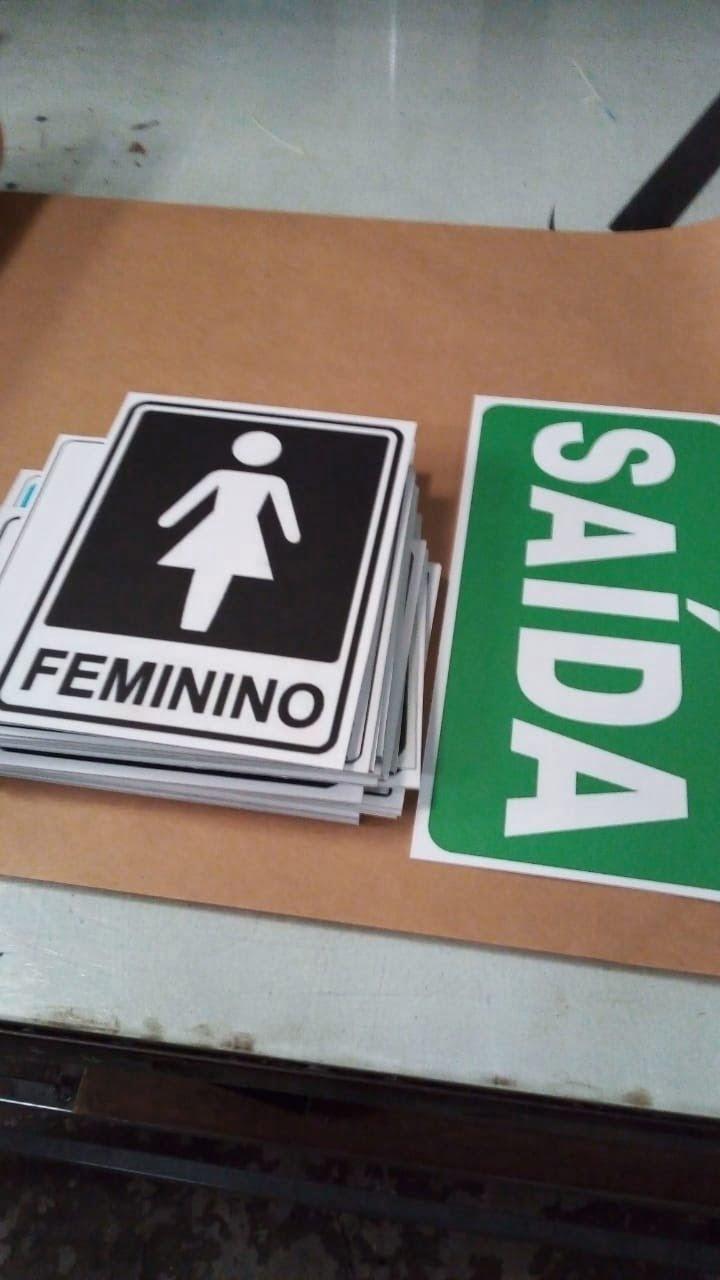 placa de sinalização, banheiro feminino e masculino, chapa psai adesivada,