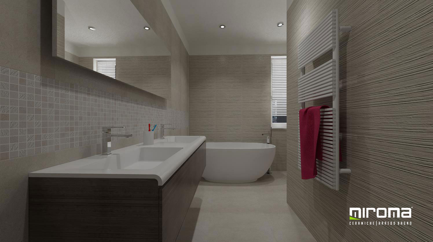 Progetto bagno pavimento e rivestimento FAP Ceramiche
