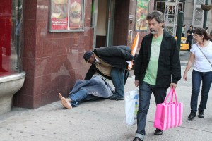 Man gives him his apple.