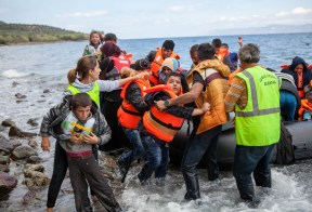 Syrian refugees finally arriving on European shores. Photo by CAFOD Photo Library via Flickr creatice commons.