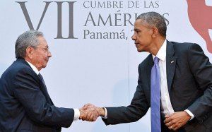 Barack Obama and Raúl Castro at the Summit of the Americas Credit: AFP/Getty