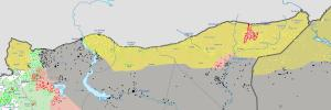 Rojava territory: in Yellow, the areas controlled by the people of Rojava, in grey the territory controlled by the Islamic State