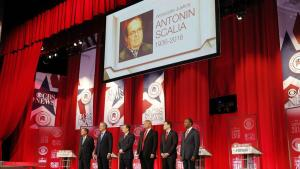 The Republican candidates with the martyr of their party, the late Antonin Scalia