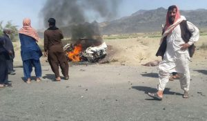 Taxi destroyed by CIA drone, two deceased: Mullah Mansour, Mohammad Azam.