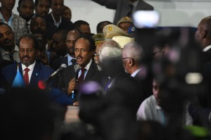 """Newly elected president Mohamed Abdullahi """"Farmajo"""" makes an acceptance speech after he is sworn into office. https://flic.kr/p/RXkp3t"""