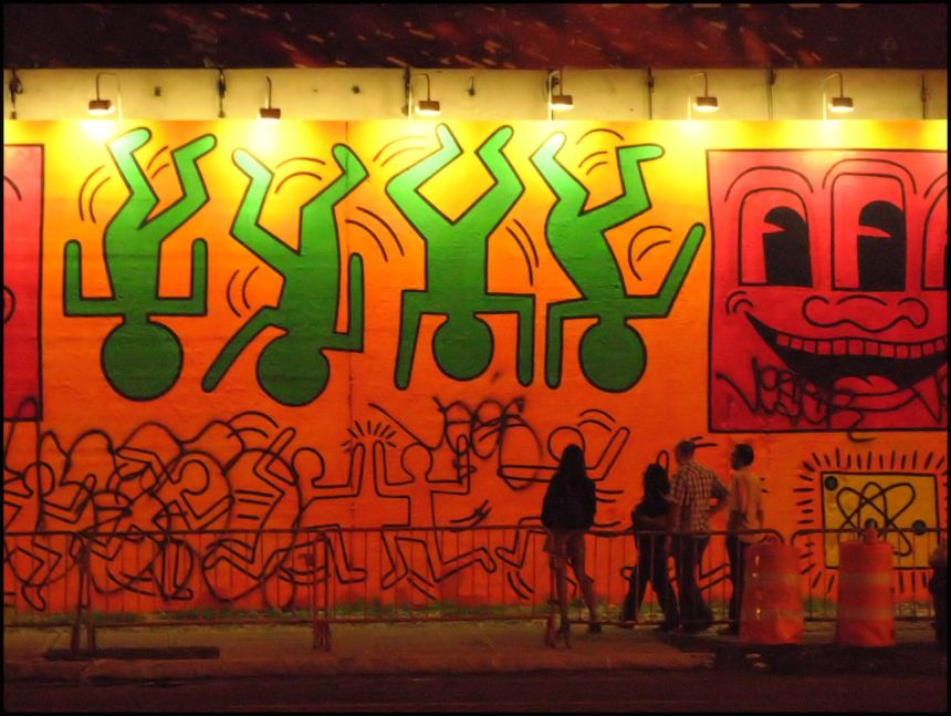 A mural by Keith Haring captures queer culture during the AIDs epidemic. https://flic.kr/p/52x4Hs