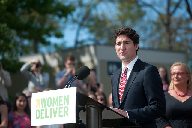 Trudeau announcing that Vancouver will be the location of the Women Deliver 2019 Conference