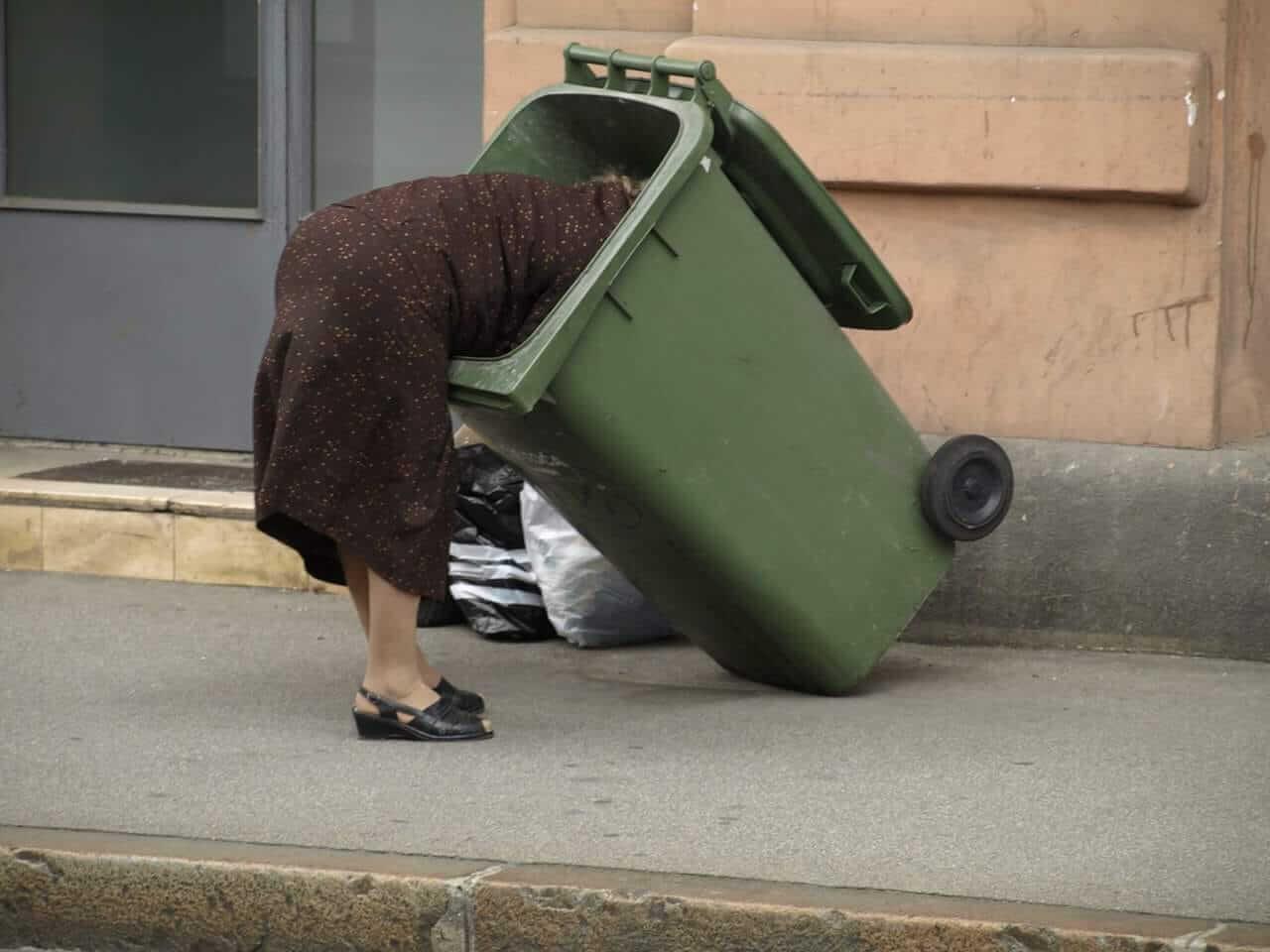 Baka u centru Zagreba za vrijeme ručka na Dan neovisnosti kopa po kanti za smeće