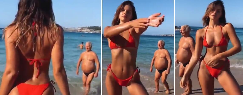 Postao hit: Stariji gospodin u kupaćim gaćama prošetao manekenki kroz kadar