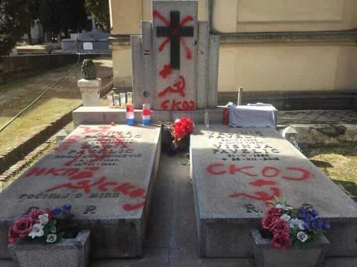 Grob Ante Pavelića u Madridu išaran ćirilicom i komunističkim simbolima