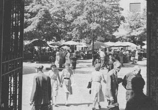 "Bacite pogled na ""zeleni"" Cvjetni trg 50-ih kroz vrata Oktogona"