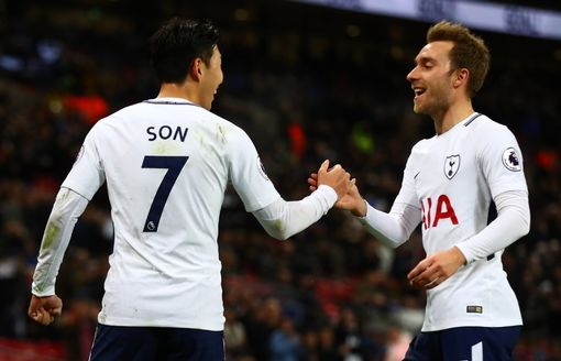 Heung-Min Son celebrates with Christian Eriksen
