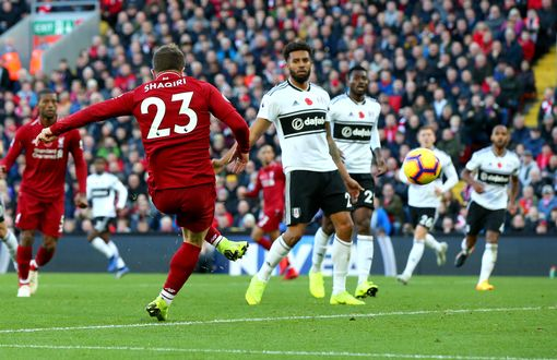 Xherdan Shaqiri of Liverpool scores his team's second goal