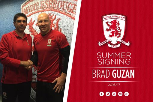 Brad Guzan signs for Middlesbrough.