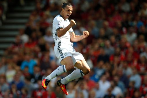 Manchester United's Zlatan Ibrahimovic celebrates scoring their third goal