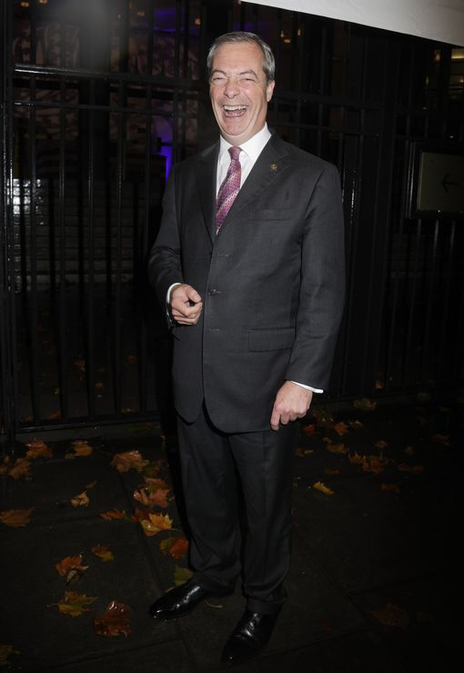 UKIP's Nigel Farage stands outside the US presidential election night party at the US Embassy in London