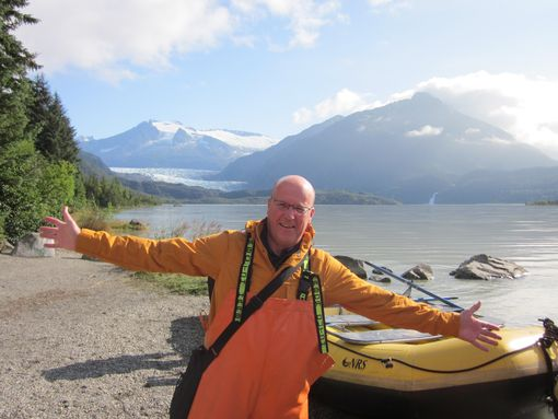 Nigel at Mendenhall lake and glacier in Juneau, Alaska