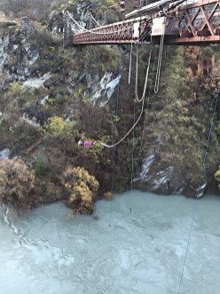 Watching bungee jumping outside Queenstown, South Island