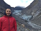 Casual posing at Fox Glacier (or what remains of it!), South Island.