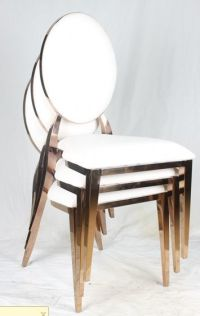 Gold Wedding Dining Chairs Stainless Steel Stackable ...