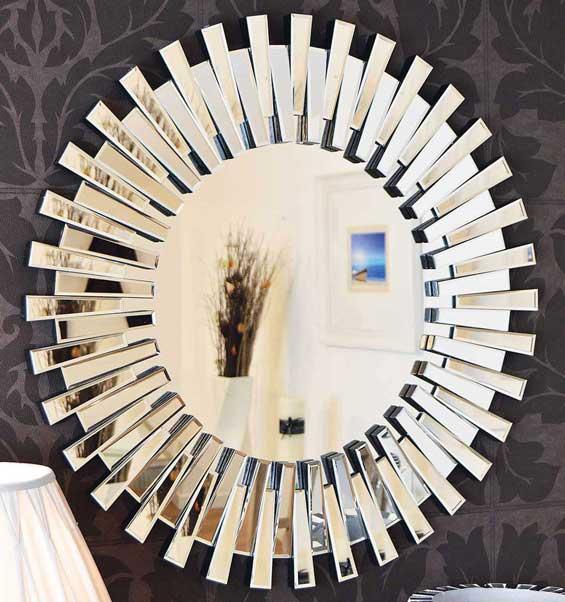 Modern Unique 3D Sunburst All Glass Venetian Round Wall Mirror 3Ft Or 91cm New 5055781807961 EBay