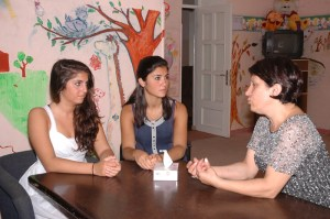 Simone Pakalian and Alexa Sepah-Gulian meeting with Mira Antoyan, the director of FAR's Child Protection Center in Armenia