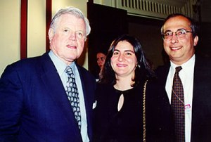 Senator Kennedy with Naz Aftandilian and Gregory Aftandilian (right), who is currently on Sen. Paul Sarbanes' staff.