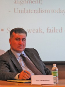 Elin Suleymanov, Consul General of Azerbaijan in Los Angeles, at the recent Tufts University forum on Nagorno Karabagh.
