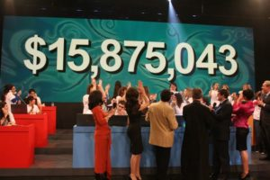 At the end of the broadcast, the total was shown on the big screen.