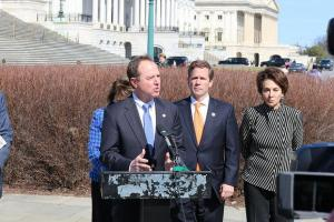 Rep. Adam Schiff (D-Burbank) speaks at a press conference on March 18, to introduce a resolution calling for the recognition of the Armenian Genocide and to urge President Barack Obama to negotiate a sustainable, peaceful relationship between Turkey and Armenia. (Courtesy of Adam Schiff's office)
