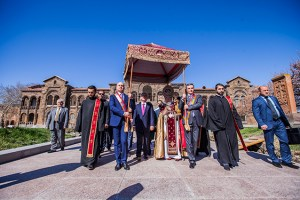 Walking under the canopy to Holy Echmiadzin for Easter services