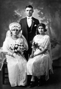 Haighganoosh Fendekian Serverian with her husband Haiguin Serverian, and the groom's niece Vartouhi Chakrian, October 2, 1923, Bridgeport, Connecticut; photographer unknown. Project SAVE Archives photo, courtesy of Haighganoosh Fendekian Serverian, Valley Stream, New York