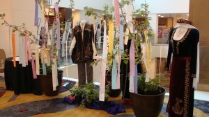 Near the meeting rooms in the Marriott were two apricot trees adorned with memorial streamers created by guests in memory of those lost during the Genocide. (Nancy Kalajian photo)