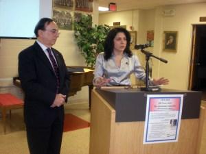 Judge Lisa Assadoorian with keynote speaker Raffy Bedrosian