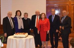 From left, Vartan Ouzounian, Taline Avakian, Gregoir Chikaher, Hagop Vartivarian, Sylva Krikorian-Aharonian, Krikor Haroutunian, Nar Khatchadourian (all except Vartivarian are the trustees of the London Tekeyan Trust)