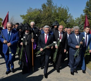 President Serge Sargisian and Catholicos of All Armenians Karekin II and other dignitaries mark Armenia's independence anniversary.