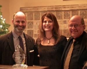 From left, Honorary Judge Pier Carlo Talenti, CTG Literary Director; 2014 Saroyan Prize winner Laura Maria Censabella; ADAA Board member Hank Saroyan, nephew of the late William Saroyan.